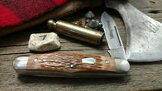 Schatt & Morgan Cutlery - #376 Center Swell - Red Elk - 7 -  Spear Blade - FACTORY TEST