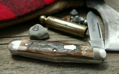 Schatt & Morgan Cutlery - #376 Center Swell - Red Elk - 8 -  Spear Blade - FACTORY TEST