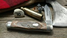 Schatt & Morgan Cutlery - #376 Center Swell - Red Elk - 10 -  Spear Blade - FACTORY TEST