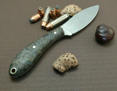 L.T. Wright Handcrafted Knives - Small Northern Hunter - NICE Buckeye Burl Wood Handles -Flat Grind - AEB-L Stainless Steel