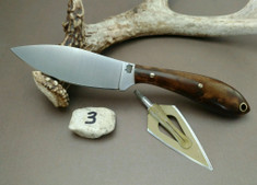 L.T. Wright Handcrafted Knives - Small Northern Hunter - NICE Dark Maple Wood Handles  (3) - Flat Grind