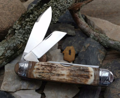 Tuna Valley Cutlery Co. - Cattleman  -  Fluted Mammoth Bark Ivory Handles - 1