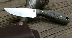 LT Wright Handcrafted Knives -  Frontier First - Black Burlap Micarta - Flat Grind -  01 Steel Blade