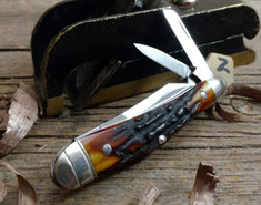 Tuna Valley Cutlery Co. - Humpback Whittler  -  Amber Stag Handles - 2