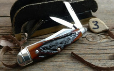 Tuna Valley Cutlery Co. - Humpback Whittler  -  Amber Stag Handles - 3