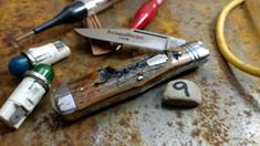 Schatt & Morgan Cutlery - #22 Medium Coke Bottle  - (Clip) - Lightning Wood Handles (9) - NEW EXCLUSIVE !