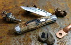 Schatt & Morgan Cutlery - #22 Medium Coke Bottle  - (Clip) - Lightning Wood Handles (21) - NEW EXCLUSIVE !