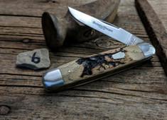 Schatt & Morgan Cutlery - #203 - Cigar Muskrat  - NEW Lightning Wood Handles - 6 - NEW JSR EXCLUSIVE