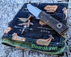 Fiddleback Forge - Pocket Kephart - Wenge Wood Handles  - Natural/White Liners - A2 Tool Steel