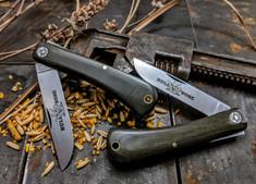 GEC - Farm and Field -  Bullnose Work Knife- OD Green Linen Micarta