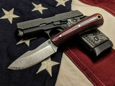 L.T. Wright Handcrafted Knives - Second Amendment -  Saber Grind - Red/Black Micarta - Polished Finish