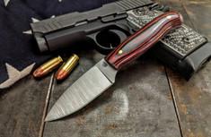 LT Wright  Handcrafted Knives - Patriot -  Red/Black Micarta  - Polished Finish - Flat Grind - 3V Steel - NEW
