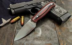 LT Wright  Handcrafted Knives - Patriot -  Red/Black Micarta  - Polished w/Aluminum Hardware - Flat Grind - 3V Steel - NEW