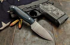 LT Wright  Handcrafted Knives - Patriot -  Blue/Black G10  - Matte w/Aluminum Hardware - Flat Grind - 3V Steel - NEW
