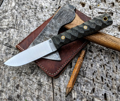 LT Wright Handcrafted Knives -  Maverick Scout  - Black Micarta - Mountain Finish - A2 Steel - Flat Grind