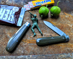 GEC -Tidioute - Huckleberry Boys Knife - Single Spear Blade -  OD Green Linen Micarta