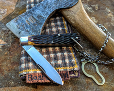 GEC -Tidioute - Huckleberry Boys Knife - Single Spear Blade with Bale and Chain -  Antique Yellow Jig Bone