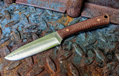 LTWK -  Small Pouter - Convex Grind - Burlap Micarta w/Copper Hardware - Matte Finish  - NEW