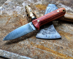 LT Wright Handcrafted Knives - THE NEXT GEN -  NICE Bocote Wood w/Orange Liners - Flat Grind - 3V Steel