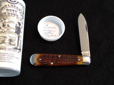 Tidioute Huckleberry Boys Knife - Single Blade -  Antique Yellow Jig Bone
