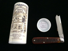 Tidioute -  Huckleberry Boys Knife - One Armed Bandit -  Antique Yellow Jig Bone