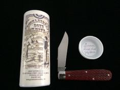 Tidioute -  Huckleberry Boys Knife - Single Blade -  Rust Red Jig Bone