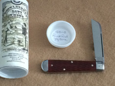 Tidioute -  Huckleberry Boys Knife - Single Sheepsfoot Blade -  Rust Red Jig Bone