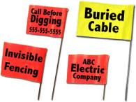 """Fiberglass Staff-W/Standard or Fluorescent Flag + Custom Printing 18"""" Staff 4""""x 5"""" Flag (1,000/box)"""