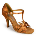 Flexible tan T-strap Latin sandal from International.