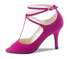 Magenta suede tango or latin dance shoe with a  3 inch heel.