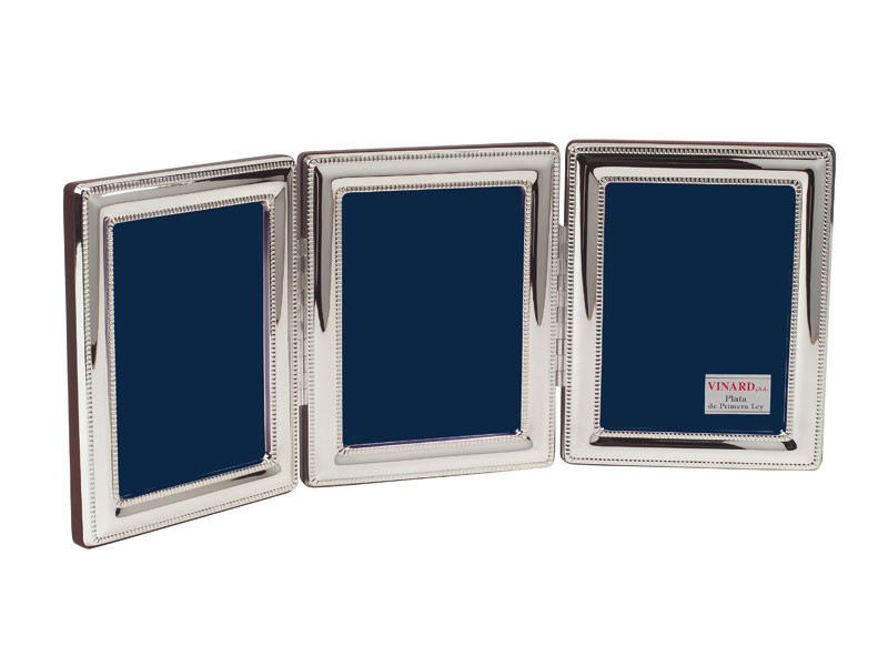 Vinard Silver Plated Beaded Triple 2x3 Multi Photo Frame