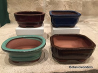 "4"" Assorted Glazed Bonsai pots, set of 4"