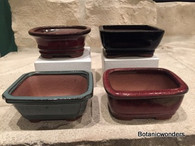 "4"" Assorted Glazed Bonsai pots, set of 4, #2"