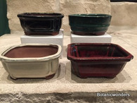 "4"" ASSORTED GLAZED BONSAI POTS, SET OF 4, #3"