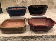 "5"" ASSORTED GLAZED BONSAI POTS, SET OF 4"