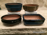"5"" ASSORTED GLAZED BONSAI POTS, SET OF 4, #3"