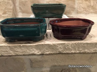 "6"" ASSORTED GLAZED BONSAI POTS, SET OF 3"