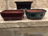 "6"" ASSORTED GLAZED BONSAI POTS, SET OF 3, #2"