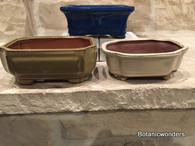 "6"" ASSORTED GLAZED BONSAI POTS, SET OF 3, #3"