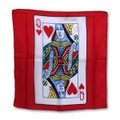 18 Inch Queen of Hearts Silk with Red Background