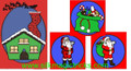 Santa in Chimney Set of 4 Silks - Magic Trick
