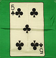18 Inch 5 of Clubs Card Silk with Green Background
