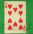 12 Inch 10 of Hearts Card Silk with Green Background