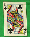 12 Inch Queen of Clubs Card Silk with Green Background