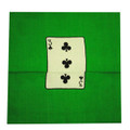 "9"" Card Silk Set (3 of clubs + blank) with Green Background"