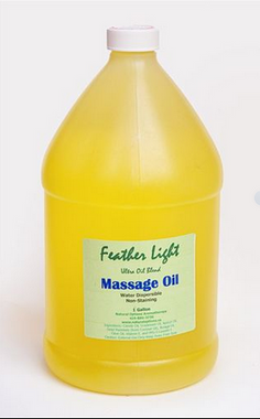 Feather Light Oil is a blend of grapeseed, apricot kernel, coconut, borage and olive oils and vitamin E. It leaves a soft, satiny feel to the skin, not greasy. Massage Therapists love it because it doesn't stain!