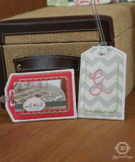 Gray Chevron and Coral Luggage ID Tags with Initial