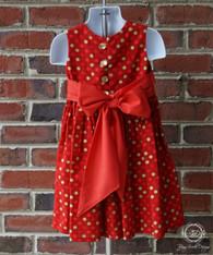 Red Christmas Polka Dot Toddler Dress, Christmas Dress, Size 3T