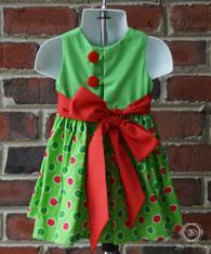Green Christmas Polka Dot Infant Dress, Christmas Dress, Size 6m