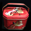 Coca Cola Oblong Octogon Santa, Christmas Tin with Handle